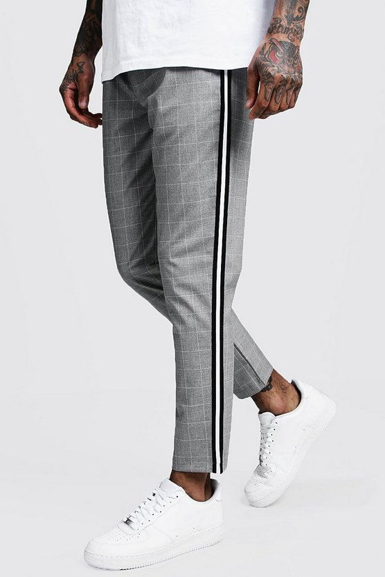 Mens Grey Window Pane Check Tape Detail Jogger