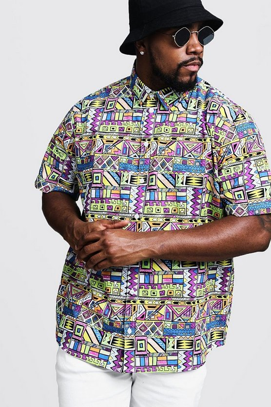 Mens Multi Big & Tall Multi Print Regular Fit Shirt