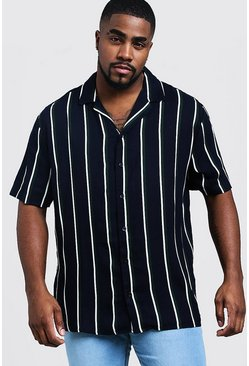Mens Navy Big & Tall Stripe Revere Collar Shirt