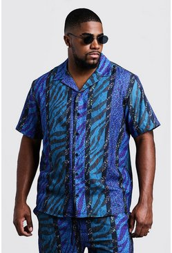 Mens Blue Big & Tall Animal Stripe Revere Collar Shirt