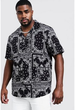 Mens Black Big & Tall Bandana Print Revere Collar Shirt