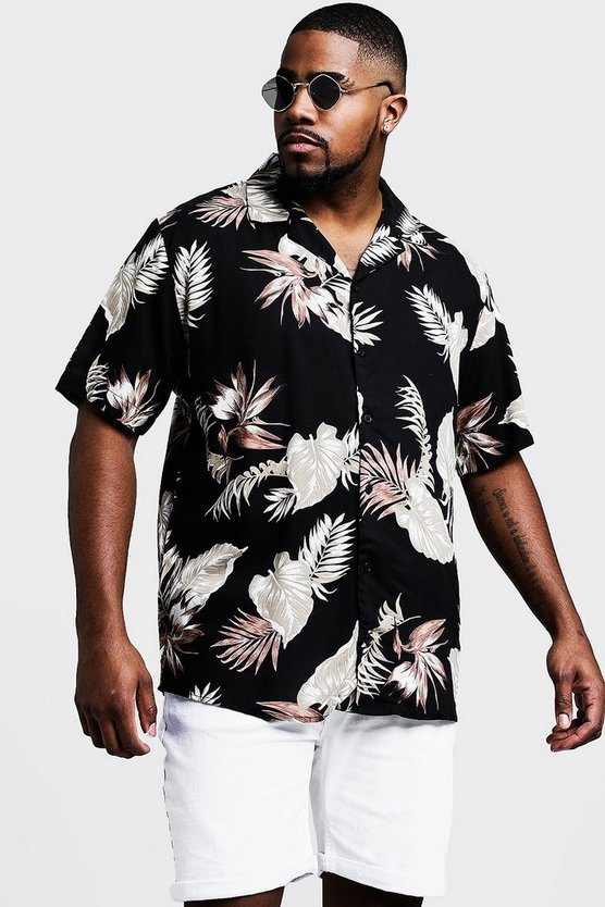 Mens Black Big & Tall Floral Print Revere Collar Shirt