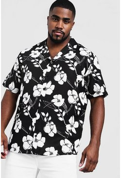 Mens Black Big & Tall Monochrome Floral Revere Collar Shirt