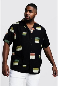 Mens Black Big & Tall Square Print Revere Collar Shirt
