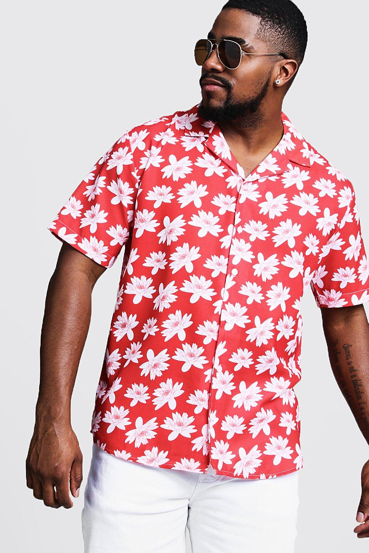 1960s – 70s Mens Shirts- Disco Shirts, Hippie Shirts Big  Tall  Floral Print Revere Collar Shirt $12.00 AT vintagedancer.com