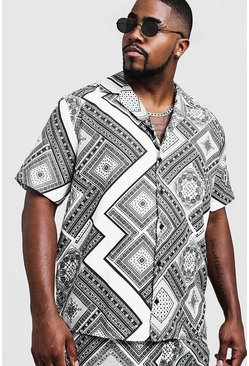 Mens Black Big & Tall Chevron Tile Print Revere Collar Shirt