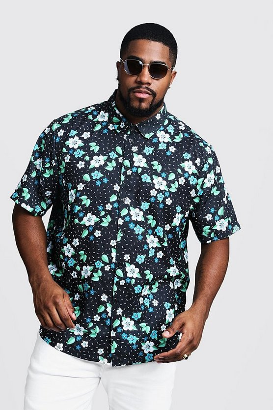 Mens Black Big & Tall Ditsy Floral Short Sleeve Shirt