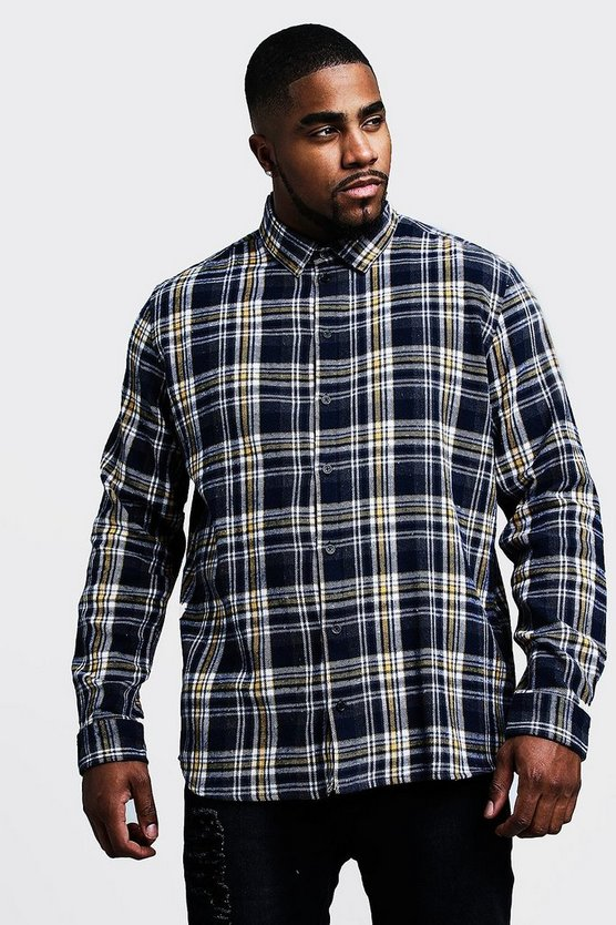 Mens Navy Big & Tall Regular Fit Long Sleeve Check Shirt