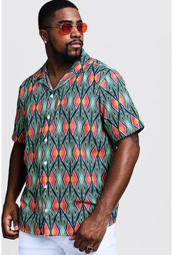 Mens Neon-green Big & Tall Aztec Revere Collar Shirt