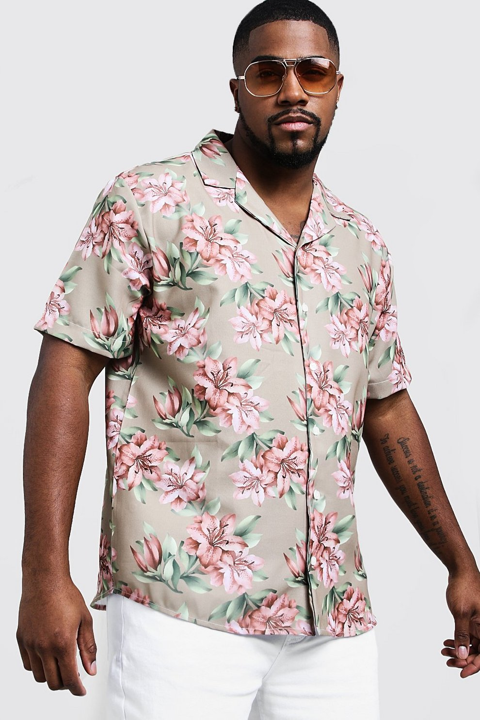 2748b9ac9fb Mens Beige Big   Tall Washed Floral Print Shirt
