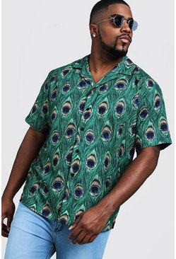 Mens Green Big & Tall Peacock Print Revere Collar Shirt
