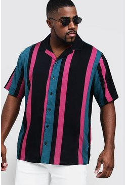 Mens Multi Big & Tall Stripe Print Revere Collar Shirt