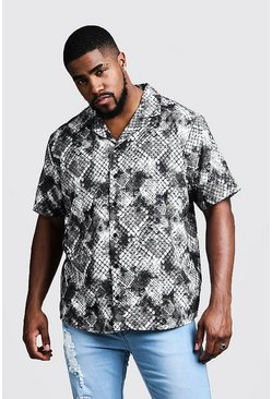 Mens Light grey Big & Tall Snake Print Revere Collar Shirt