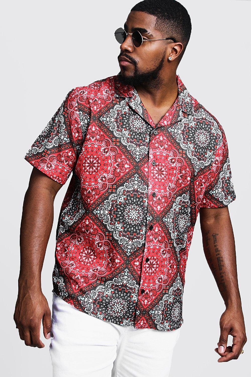 1960s – 70s Mens Shirts- Disco Shirts, Hippie Shirts Big  Tall Tile Print Revere Collar Shirt $8.00 AT vintagedancer.com