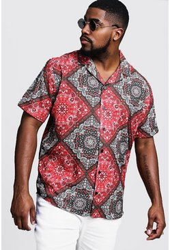 Mens Red Big & Tall Tile Print Revere Collar Shirt