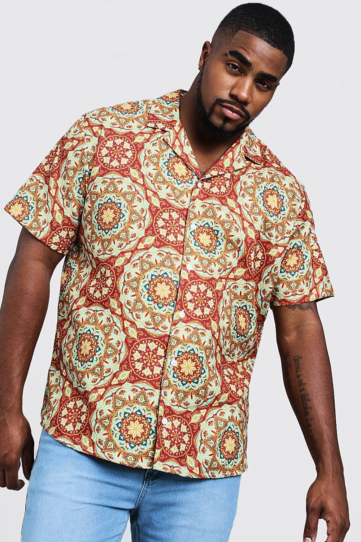 1960s – 70s Mens Shirts- Disco Shirts, Hippie Shirts Big  Tall Tile Print Revere Collar Shirt $6.00 AT vintagedancer.com