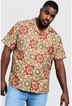 Mens Multi Big & Tall Tile Print Revere Collar Shirt