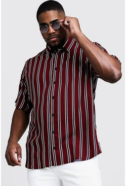 Big & Tall - Chemise à col coupe droite et rayures, Rouge, Homme