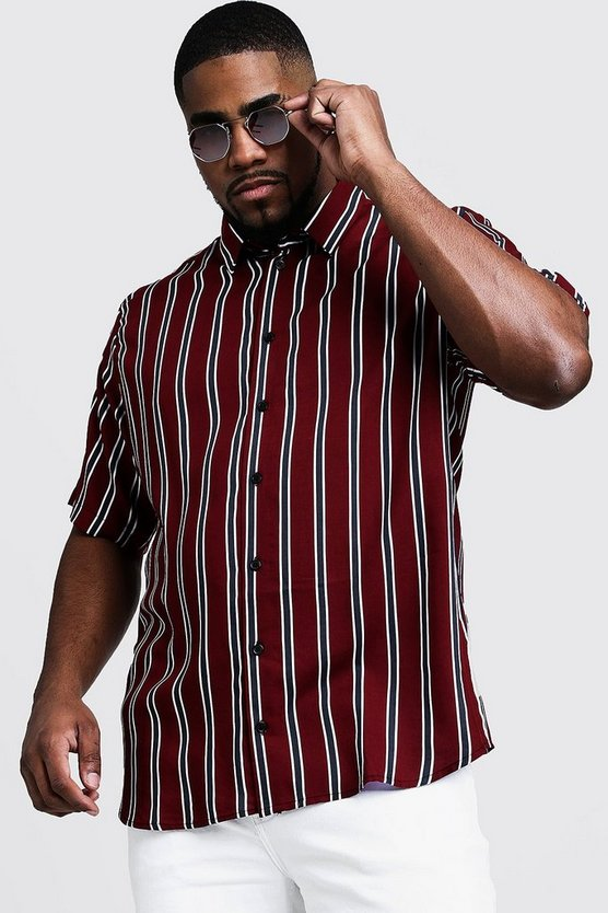 Mens Red Big & Tall Stripe Regular Fit Collar Shirt