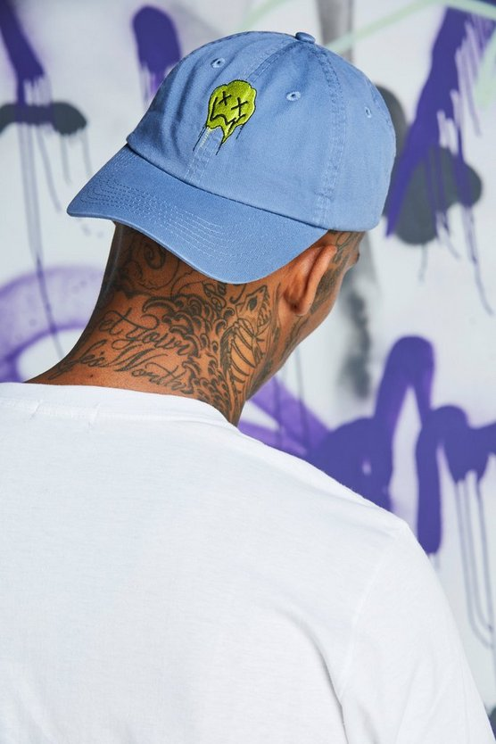 Mens Pale blue Quavo Face Embroidered Dad Cap