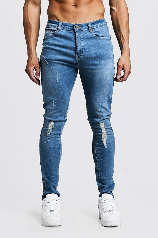 Mens Blue Skinny Fit Jeans With Distressing
