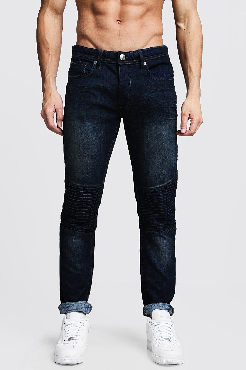 Indigo Wash Slim Fit Biker Jeans