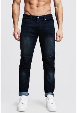 Mens Indigo Wash Slim Fit Biker Jeans
