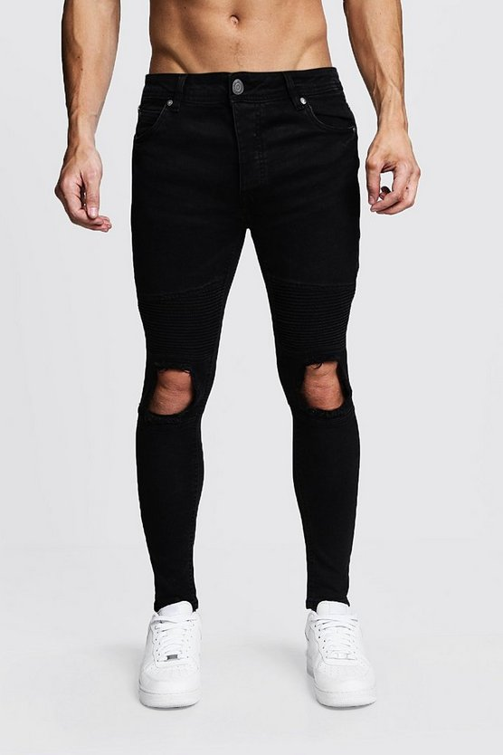 Mens Washed black Skinny Fit Biker Jeans With Ripped Knee