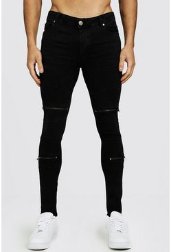 Mens Charcoal Wash Zip Detail Biker Jeans