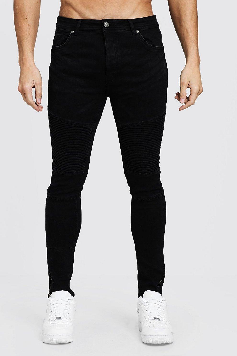 76861035d5cb7 Mens Black Skinny Fit Biker Jeans With Zip Cuff