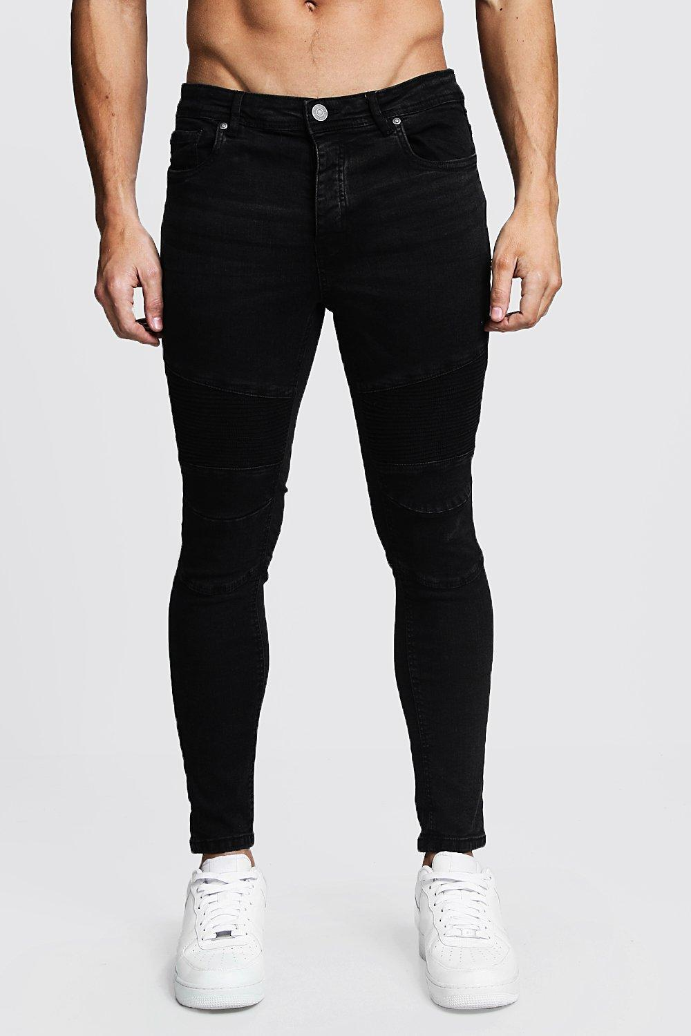 Charcoal Wash Skinny Fit Biker Jeans