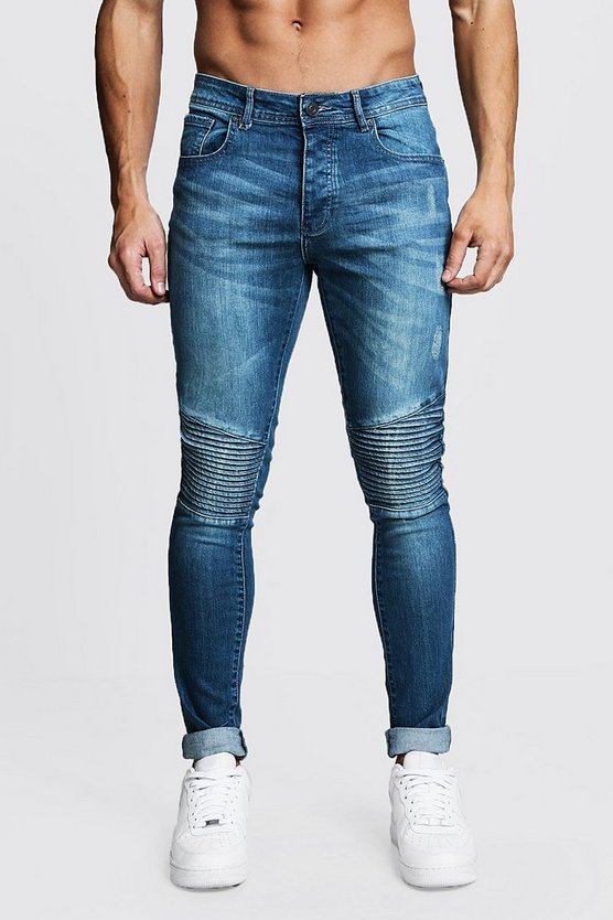 Mens Blue Skinny Fit Biker Jeans In Blue Wash