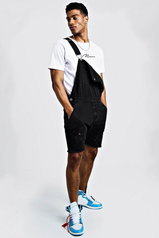 Mens Charcoal Slim Fit Short Length Distressed Dungarees