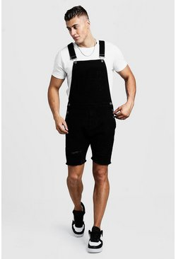 Mens Black Slim Fit Short Length Distressed Dungarees