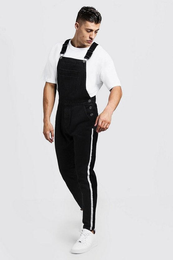 Mens Washed black Slim Fit Denim Dungarees with Tape Detail
