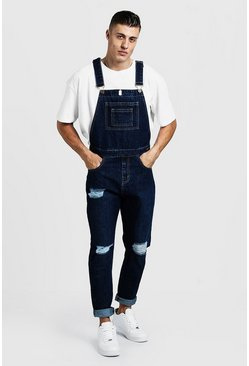 Mens Dark blue Slim Fit Distressed Dungarees