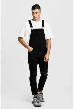 Mens Grey Slim Fit Distressed Denim Dungarees