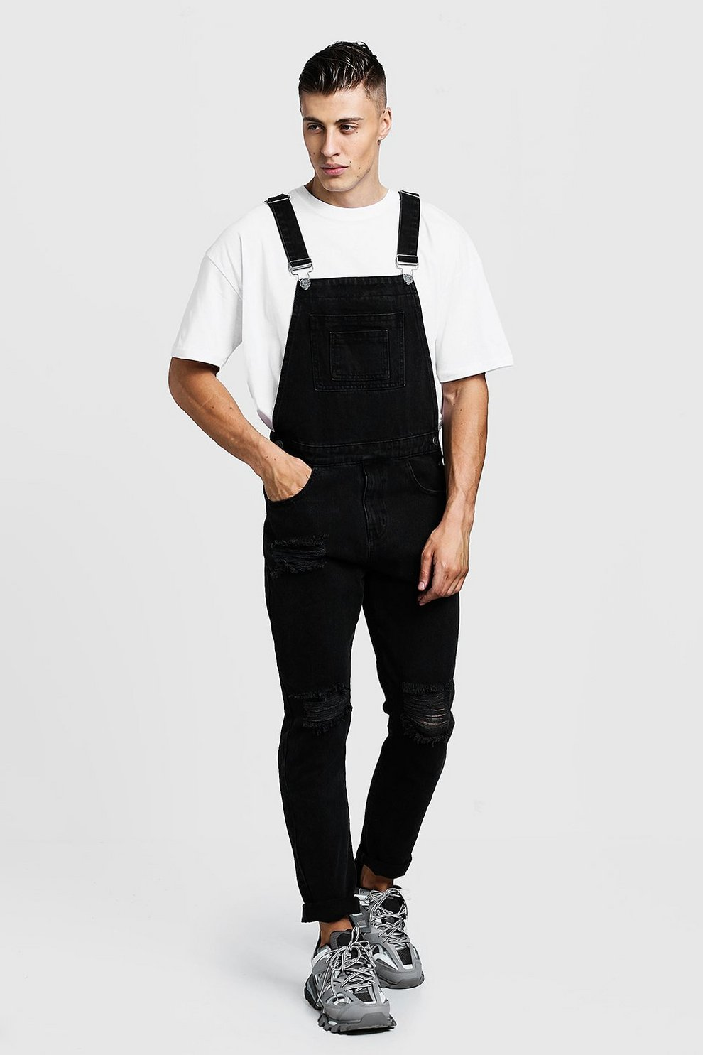 aliexpress thoughts on popular style Slim Fit Distressed Denim Overalls | Boohoo