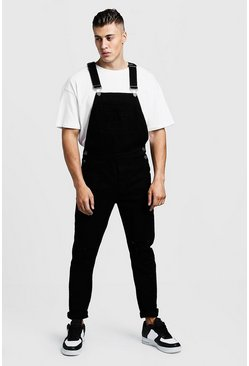 Mens Black Slim Fit Distressed Denim Dungarees