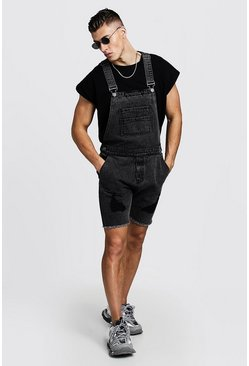 Mens Grey Slim Fit Acid Wash Short Overalls