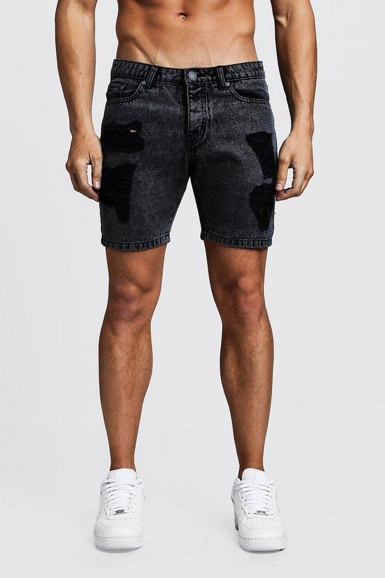 Mens Grey Slim Fit Acid Wash Distressed Denim Shorts