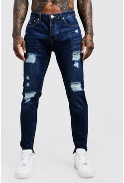 Mens Dark blue Skinny Fit Rigid Jeans With Distressed Knees