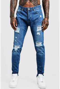 Mens Vintage wash Skinny Fit Rigid Jeans With Distressed Knees