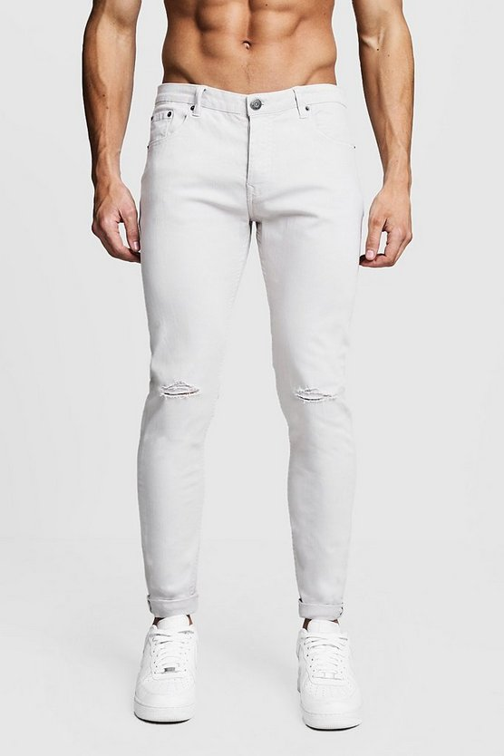 Mens Stone Skinny Fit Jeans With Ripped Knee