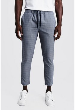 Mens Blue Micro Check Smart Cropped Jogger