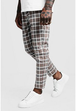 Mens Orange Prince Of Wales Check Cropped Smart Jogger
