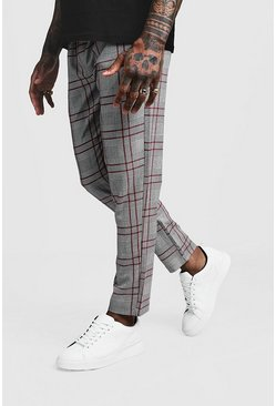 Herr Red Smart Check Tape Detail Cropped Jogger