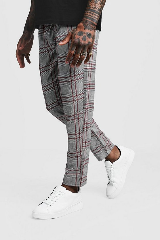 Mens Red Smart Check Tape Detail Cropped Jogger