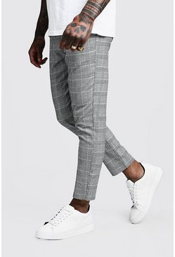 Mens Black Jaspe Check Cropped Smart Jogger