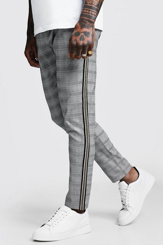 Black Mono Check Tape Detail Smart Jogger